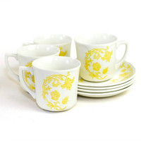 Yellow J G Meakin Royal Staffordshire Windsong Ironstone Coffee / Tea Cup & Saucer Serving Set (8 Pieces) - Vintage Home Kitchen Decor