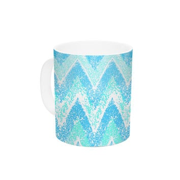 "Marianna Tankelevich ""Mint Snow Chevron"" Blue Chevron Ceramic Coffee Mug"