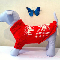 Knit Warm Winter Pattern Sweater For Big Dog.  Knit Dog Pattern Clothing. Knit Pattern Pet Sweater. Big Dog Clothes. Size XL