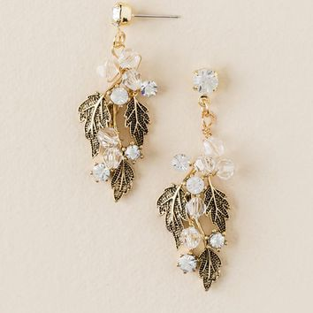 Curated Collection Casted Leaves Drop Earring