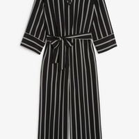 V-necked jumpsuit - Striped to perfection - Jumpsuits - Monki GB