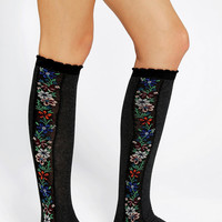 Floral Needlepoint Knee-High Sock