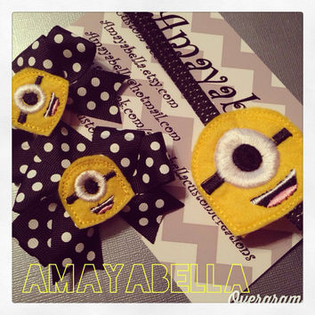 Minion accessory set headband and bows READY TO SHIP
