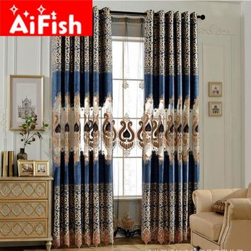 Navy Blue High-Grade Chenille Jacquard Hollow Velvet Embroidery Window Curtains For Living Room Luxurious Sheer Panel DF025#20