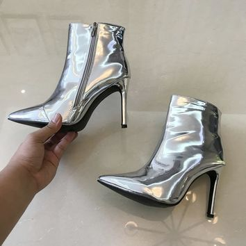 Women's Shiny Patent Leather High Heel Ankle Boots