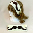 Mustache Headband Hair Head Band Wide Moustache Crochet Brown Cream Style Accessory