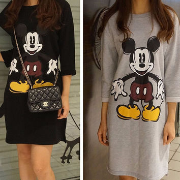 Cartoon Mickey Print Folded Sleeve Tunic Mini Dress
