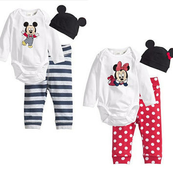 3pcs Newborn Infant Baby Kids Clothes Romper Minnie Cartoon Mouse Printed Outfits Tops+Strip dots Pants+Caps Sets