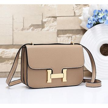 Hermes Women Fashion New Leather Crossbody Shopping Leisure Shoulder Bag Khaki
