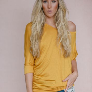 Off Shoulder Mustard Dolman