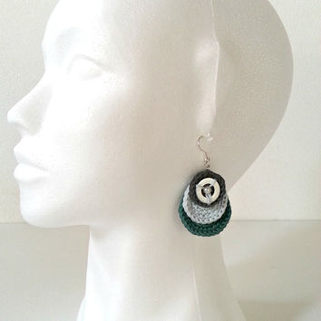 Crochet circular dangle earrings, cotton earrings, dark-grey, light-blue, green, for her