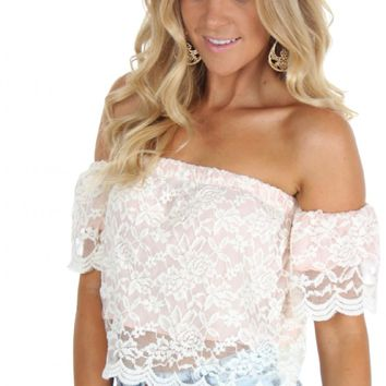 Lady Lace Crop Top White