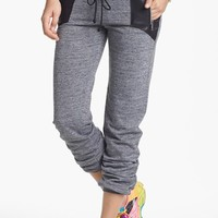 Junior Women's Lily White Faux Leather Inset Sweatpants