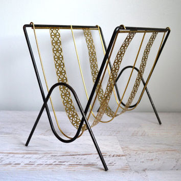 Vintage Magazine Rack, Mid Century Modern Home Decor, Black Brass Gold Metal Mesh 1960s Log Holder