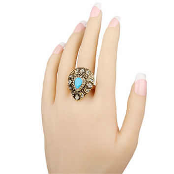 Womens Girls Party Unique Old Gold Ring Bohemian Style Womens Fashion Casual Vintage Jewelry Best Gift Rings-22