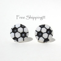 Soccer Stud Earrings Free Shipping Post MLS Futbol Football Ball White and Black Sports Jewelry