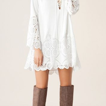 White Lace Tunic Dress