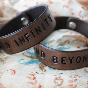 Your Text or Mine-His & Hers- Couples- Friendship- To Infinity And Beyond Leather Bracelets- Made to Order- Customizable- Your Words or Mine