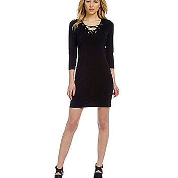 Calvin Klein Lace Up V-Neck Shift Dress - Black
