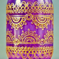 Violet Glass Mason Jar Lantern with Gold Henna Style Accents