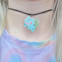Bulbasaur Pokemon 90s Kitsch Kawaii Choker Pendant Silver Necklace Jewellery Jewelry