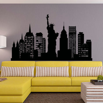 New York City Skyline Wall Decal NYC Silhouette New York Wall Decals Statue  Of Liberty Office