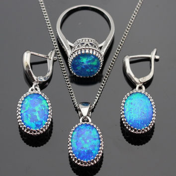 Round Fire Blue Opal Stones Silver Color Jewelry Sets For Women Necklace Pendant Drop Earrings Rings Free Gift Box