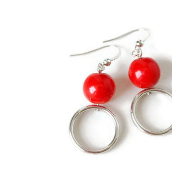 Round Earrings with Red Beads and Nickel Free Hooks. Geometric Earrings. Red Earrings.