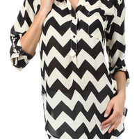 Black and White Chevron Blouse