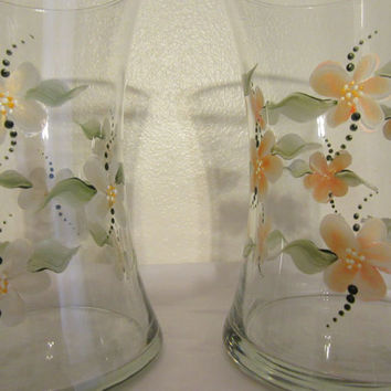 Metallic Gold or Orange Floral Hand Painted Clear Glass Vases - Your Choice