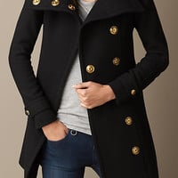 Wool Twill Blanket Wrap Coat