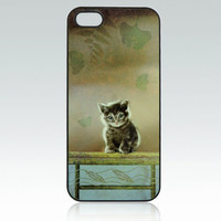 Cat iPhone 5 case, little cat iPhone 5s cover, kitten iPhone 5 case, kitty, leaves, nature, cool, cute, unique