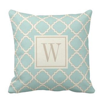 Mint Modern Moroccan Quatrefoil Monogram Throw Pillow