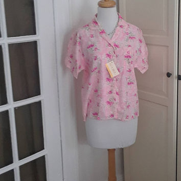 1960s Deadstock Blouse, Shirt, Top, Pink Roses, Cotton Blend, NWT, Size Medium, 40B