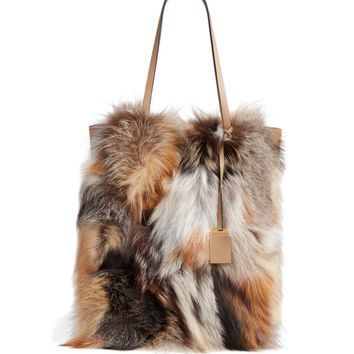Michael Kors Large Elenor Genuine Fox Fur Tote | Nordstrom