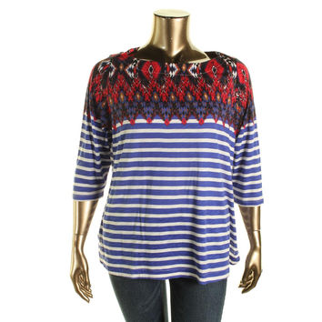 Lucky Brand Womens Plus Striped Boatneck Pullover Top