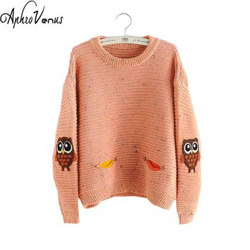 Women Sweater Autumne Pullover O-neck Owl Character With Pocket Hit Color Colid Loose Cashmere Sweater Pullover Sweater Women