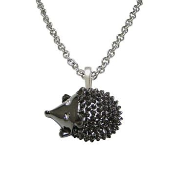 Gunmetal Toned Hedgehog Pendant Necklace