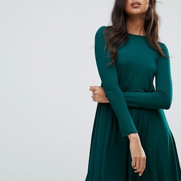 Boohoo Scoop Neck Long Sleeve Swing Dress at asos.com