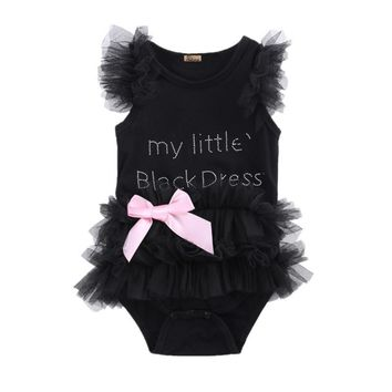 "Bedazzled ""My Little Black Dress"" Onesuit with Bow"