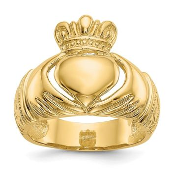 14K Yellow Gold Polished Domed Claddagh Ring