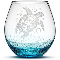Bubble Wine Glass with Tribal Sea Turtle Design, Hand Etched
