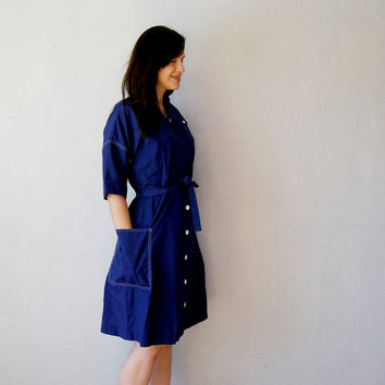military SHIRT dress / 1970s nautical navy by vintagemarmalade