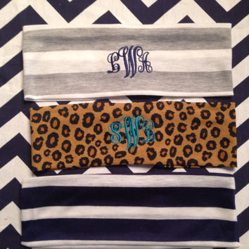 Handmade monogrammed stretch headband