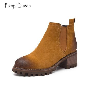 PumpQueen Shoes Woman Ankle Boots 2018 New Autumn Chelsea Fashion Suede Boots Women Med Square Heels Cow Leather Ladies Shoes