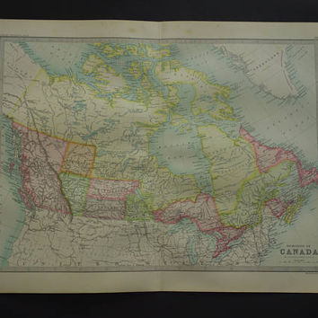CANADA old map of Canada Dominion - LARGE 1890 original antique poster print of British America detailed vintage maps - 14x19""