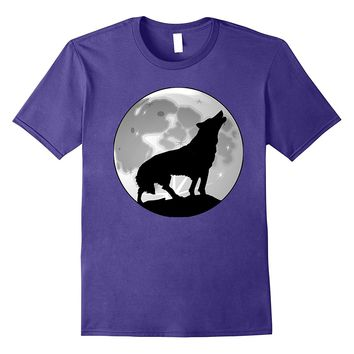 Grey Wolf Howling at the Full Moon Native American Tee Shirt