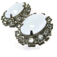 Vintage Rhinestone and Milk Glass Clip On Earrings