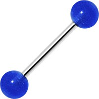 Bold Blue Barbell Tongue Ring