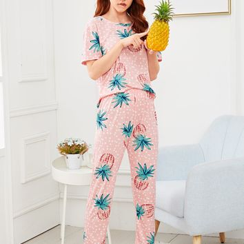 Pineapple Print Polka Dot Pajama Set